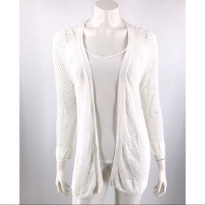 Cynthia Rowley Cardigan Sweater Large Linen White